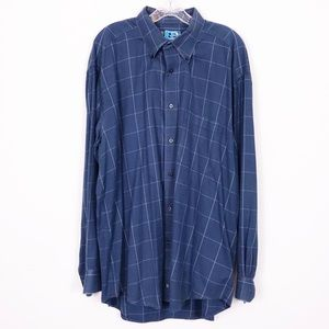 Johnston & Murphy Blue Windowpane Check Shirt XL